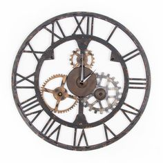 Graham & Brown H x W Vintage/Retro Metal Wall Sculpture at Lowe's. Industrial and quirky, the Cogsworth clock is a fun and striking accent. This unique metal art clock designed in rustic black metal with gold and silver Industrial Wall Art, Vintage Industrial Decor, Industrial Chic, Motivational Wall Art, Inspirational Wall Art, Metal Wall Sculpture, Wall Sculptures, Cogsworth Clock, Beige Wall Colors