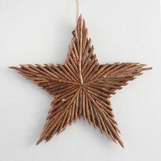 Glittered Twig Star Wall Decor