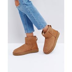 UGG Classic Mini II Chestnut Boots (€200) ❤ liked on Polyvore featuring shoes, boots, tan, tan leather boots, rounded toe boots, leather boots, ugg boots and round toe boots