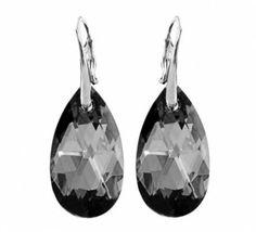Srebrne Kolczyki Swarovski Migdał Silver Night. Srebro p.925 #earrings #kolczyki #Swarovski