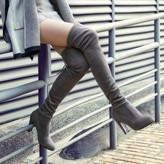 Sexy Fashion over the knee Thigh high heels women shoes Round toe, Square heel, 9cm heel high Colors: Light Grey, Black, Nude, Blue, Khaki, Dark Grey & Wine SIZES USA Heel to toe (cm) 5 22 5.5 22.5 6 23 7 23.5 7.5 24 8 24.5 8.5 25 9 25.5 10 26 10.5 26.5 These charts are for reference only. Fit vary depending on the construction materials and manufacturer.