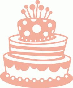 Clip art of an elegant birthday cake with pink roses and a ...