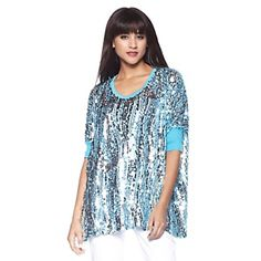 Joan Boyce Sequin Top with Ribbed Trim at HSN.com.