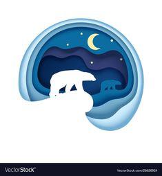 Arctic in paper art style Royalty Free Vector Image , 3d Paper Art, Paper Artwork, Paper Crafts, Kirigami, Cut Out Art, Logos Retro, Paper Illustration, Grafik Design, Box Art