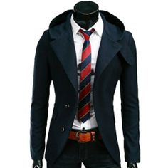Mens Casual Hooded Hoodies Dress Slim Fit 4color Suit Blazer Jackets Coats Tops (M (US XS), dark blue) TRURENDI, To SEE or BUY just CLICK on AMAZON right here  http://www.amazon.com/dp/B00IKYSL3Q/ref=cm_sw_r_pi_dp_2MeDtb0XEYVBD3PB