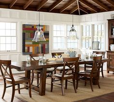 Bright white wood walls, Benchwright Extending Dining Table - Rustic Mahogany stain [Pottery Barn]