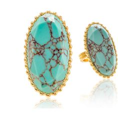 Oval Shape Genuine Turquoise Stone Ring in 18K Gold or White Gold... ($9.99) ❤ liked on Polyvore featuring jewelry, rings, jewelry & watches, 18 karat gold ring, oval cut ring, yellow gold jewelry, gold jewellery and 18k gold jewelry