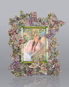 """""""Floral Butterfly"""" 5"""" x 7"""" Frame by Jay Strongwater at Neiman Marcus."""