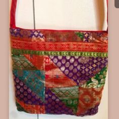 Saree boho Crossbody bag Brand new bag without tags. Patchwork saree in front back plain . Zipper closure on top . One zip pocket inside. Bags Crossbody Bags