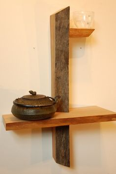 Small Live Edge Shelf No. 9 by ADrauglis on Etsy Floating Wall, Floating Shelves, Live Edge Shelves, Corner Shelves, Wooden Shelves, Woodworking Tips, Wood Turning, Barn Wood, Wood Furniture