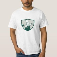 Asian Chef Serving Noodle Bowl Dancing Crest Carto T-Shirt. Illustration of an asian chef dancing holding serving a bowl of noodle viewed from front set inside shield crest on isolated background done in cartoon style. #Illustration #AsianChefServingNoodleBowl