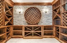 barrel shaped bottle rack in wine and spirits cellar