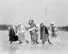 Ice Skating Race, 1925. Vintage Photo Digital Download. Black & White Photograph. Winter, Skating, Carnival, Women, 1920s, 20s, Historical.