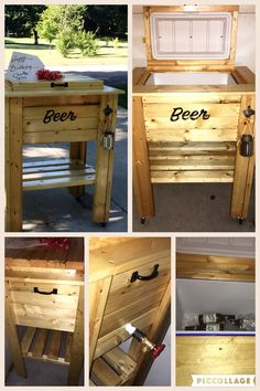 Outdoor cooler box on wheels built to bar height , front over hang for mixing drinks