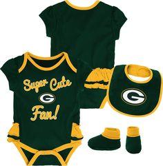Team Apparel Infant Girls  Green Bay Trifecta Onesie Set 44a353360