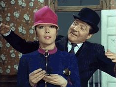 Diana Rigg as Mrs Emma Peel, and Patrick Macnee as Major John Steed, in 'The Avengers'