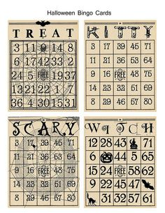 Well, fall is here, and I've finally gotten around to designing some Halloween Bingo cards to use in my card making. Halloween Bingo Cards, Halloween Class Party, Halloween Tags, Halloween Banner, Halloween Prints, Holidays Halloween, Vintage Halloween, Halloween Queen, Halloween Scrapbook