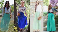 Las faldas largas el outfit ideal para esta época
