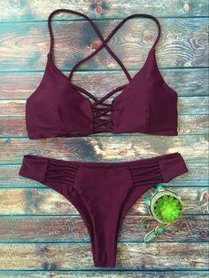 $8.72 Cami Cutout Lace-Up Strappy Bikini Set
