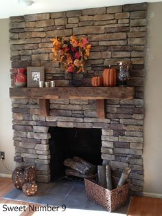 Stacked Stone Fireplace #sweetnumber9 - I wish our house had a stone fireplace. They are so majestic