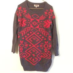 Ecote Tribal Print Sweater Dress Really cute. Minimal wear. Looks super cute w black tights and Moto boots. Size medium but fits s/m. Ecote Dresses
