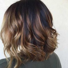 Curly Lob Hairstyle + Caramel Balayage Highlights
