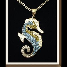 """Seahorse Pendant, AAA grade Austrian Crystals NEW Seahorse Pendant with AAA grade Multi Color Austrian Crystal With Chain (20 in) in Stainless Steel. Pendant measures 2 1/4"""" high and 1 1/2"""" wide. Perfect beautiful pendant. Jewelry"""