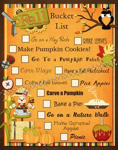 Fall Bucket List- we can do all of this in Central Texas except pick apples! Wish there was a pick your own apple Farm!