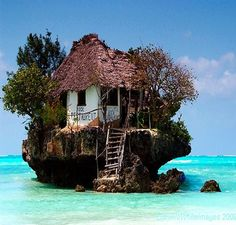"The Restaurant ""The Rock"" in Zanzibar, Tanzania. going for the awesomeness of the restaurant, and because then i wont cook it but i'll order the food from ZANZIBAR Oh The Places You'll Go, Places To Travel, Places To Visit, Small Places, Ocean House, Beach House, Belle Photo, Dream Vacations, Dream Vacation Spots"