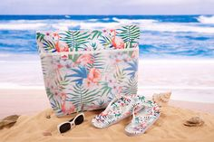 With a handy mesh pocket. Get a matching set for your holidays! In a gorgeous flamingo design. Includes a splash resistant beach bag. And a pair of between-the-toe flip flops. In sizes small medium or large (see sizing below). Wedding Flip Flops, Pink Flamingos, Flipping, Special Occasion, Presents, Beach Bags, Holidays, Accessories, Design