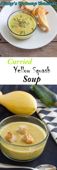 Curried Yellow #Squash #Soup is a great way to use the hoards of yellow squash in your garden! gluten and dairy free! #Vegan #ifbcx #gf #glutenfree #dairyfree #lactosefree #binkysculinarycarnival via @binkysculinaryc