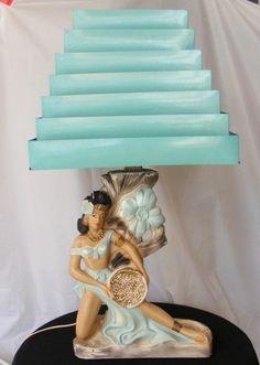 Vintage Chalkware Hawaiian Hula Dancer Lamp w Venetian Tin Shade 1960s