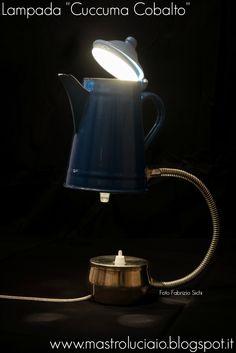 """Cuccuma cobalto"" lamp, made with a cobalt blue kettle, flexible chrome-plated hose, sugar jar (base). #kettle #blue #teiera #lamp #vintage #redesign #handicraft #recycle #reuse #artigianato #lampade #lights #luci #handmade"