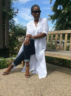 Ann Taylor Loft White Beach Maxi Shirtdress styled with Dark wash Skinny Jeans and Strappy Sandals. So What to Twenty!