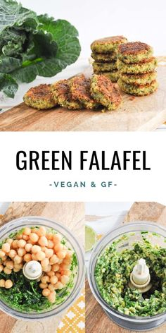 Vegan and gluten-free Green Falafel made with canned chickpe.- Vegan and gluten-free Green Falafel made with canned chickpeas Best Vegan Recipes, Vegan Dinner Recipes, Veggie Recipes, Whole Food Recipes, Healthy Recipes, Soup Recipes, Vegan Zucchini Recipes, Raw Vegan Dinners, Vegan Chickpea Recipes