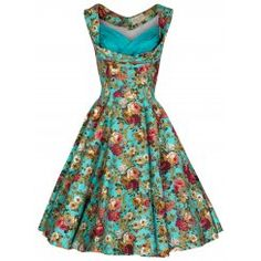 'Ophelia' Turquoise Floral Print Swing Dress