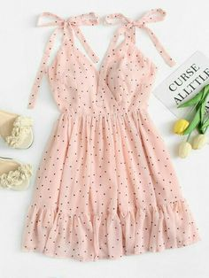 Polka Dot Ruffle Hem Cami Dress - Summer Dresses for Women Mode Outfits, Trendy Outfits, Trendy Fashion, Korean Fashion, Dress Outfits, Fashion Dresses, Womens Fashion, Hijab Dress, Pink Fashion