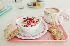 Spelt porridge w oat milk, lingonberries and almonds, whole grain spelt scones w walnuts, hot oat chocolate