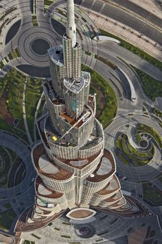 Aerial view of the upper floors of Burj Khalifa, tallest tower in the world with 828 meters.