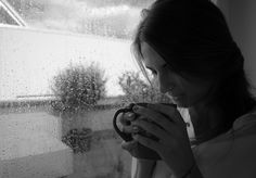 drinking some hot coffee, when it`s cold outside