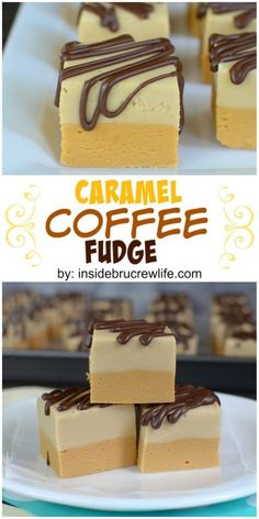 of caramel fudge, coffee fudge, and chocolate drizzles makes this fudge irresistible!Layers of caramel fudge, coffee fudge, and chocolate drizzles makes this fudge irresistible! Candy Recipes, Baking Recipes, Sweet Recipes, Köstliche Desserts, Delicious Desserts, Dessert Recipes, Homemade Fudge, Homemade Candies, Homemade Marshmallows