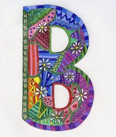 Just a doodle. I'm hoping someday I can do the whole alphabet. Doodles Zentangles, Zentangle Patterns, Fancy Letters, Doodle Lettering, Alphabet And Numbers, Alphabet Letters, Illuminated Letters, Letter Art, Art Plastique