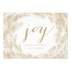 CUSTOMIZABLE WINTER WREATH | JOY | STYLISH HOLIDAY CARD by the Antique Chandelier © Jennifer Clarke 2014. Pin to your #christmas #holiday #party #celebration inspiration boards! Customize and purchase