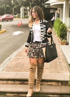 Otoño invierno outfit botas falda