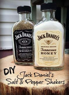 Fun DIY Ideas Made With Jack Daniels - Recipes, Projects and Crafts With The Bottle, Everything From Lamps and Decorations to Fudge and Cupcakes |  Jack Daniels Salt and Pepper Shakers |   http://diyjoy.com/diy-projects-jack-daniels