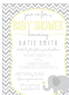 66 best yellow and gray elephant baby shower theme ideas images on printable chevron baby shower invitation gray yellow elephant or whale filmwisefo
