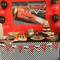 Disney Cars Party. Dessert table. Cars themed food Lightning McQueen. This is from my son's birthday party