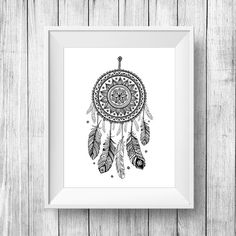 Dreamcatcher print Printable Wall Art, Inspirational quote poster, dream catcher digital poster print