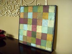 Paint sample mosaic - I love the idea of the staining.