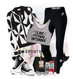 """I like my puns intended"" by vespagirl ❤ liked on Polyvore featuring Vionnet, Karl Lagerfeld, NIKE, LifeProof, Dot & Bo, Fresh, Jimmy Choo, converse, blackandwhite and casualoutfit"